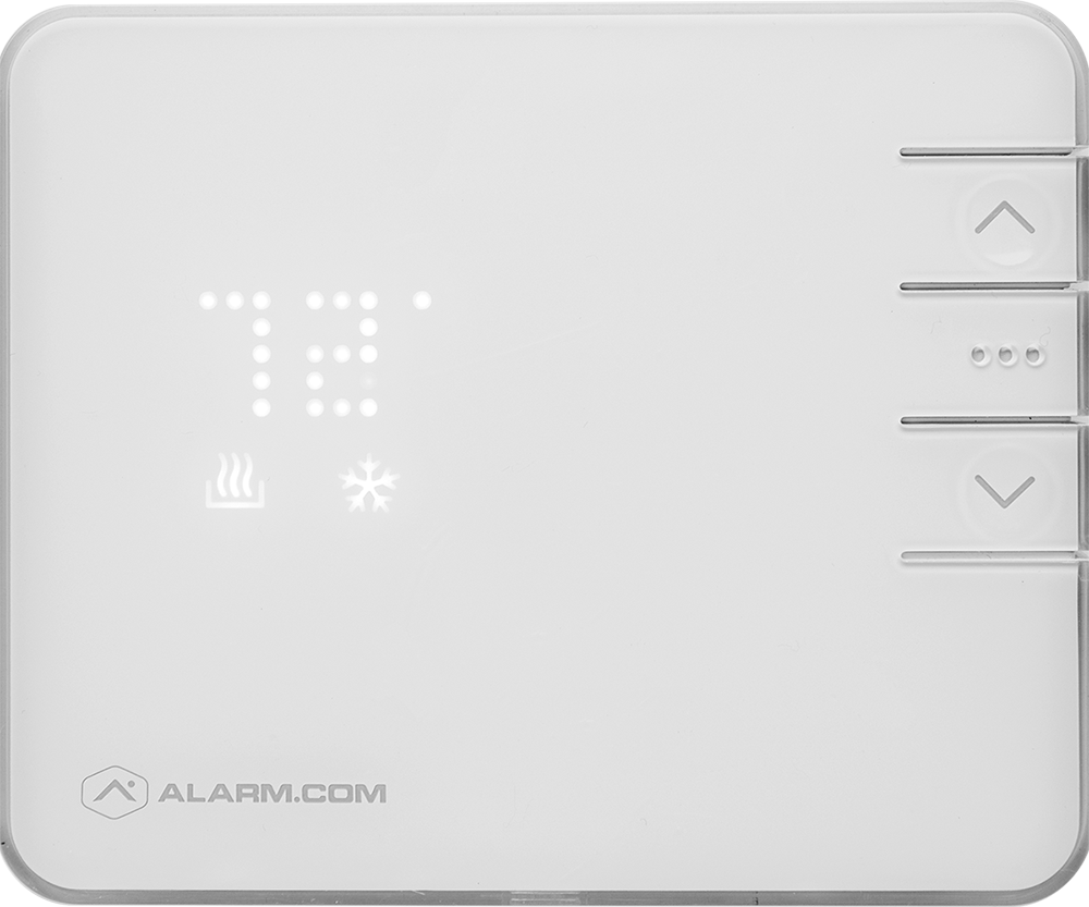 Front view of white thermostat